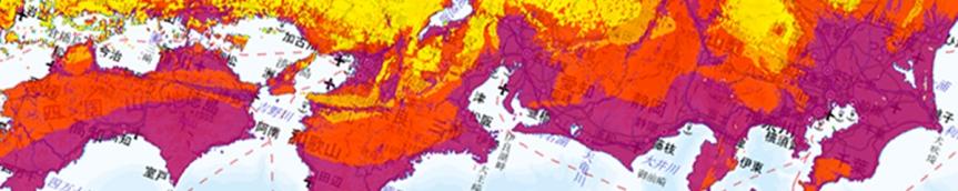 J-SHIS 30年 震度6弱以上の揺れに見舞われる確率の分布図より
