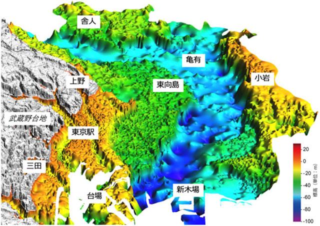 東京下町の低地の地下の埋没谷形状(産総研資料より)。産業技術総合研究所(産総研)研究グループが、東京都心部の地下地質構造を3次元で立体的に見せる次世代地質図「3次元地質地盤図~東京23区版~」を公表した。3次元地質地盤図は、だれでも閲覧でき、東京23区の地震ハザードマップや都市インフラ整備などで活用されることが期待される。いっぽう、衛星や地図情報を組み合わせた新しい防災情報サービスを、地図情報のゼンリンや衛星放送スカパーJSAT、建設コンサルタント・日本工営が始めた。防災・減災テクノロジーの新ステージだ