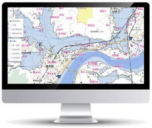 衛星防災情報サービスの「システム画面イメージ」(日本工営広報資料より)