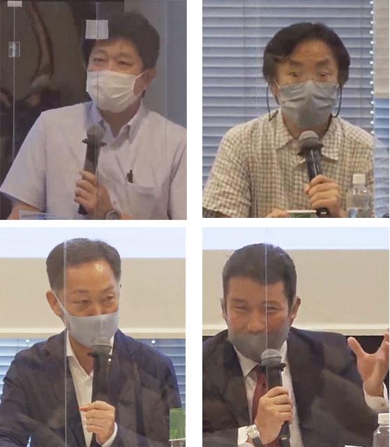 パネルディスカッション・パネラーの各氏。上左から右へ、加藤正明、中林啓修、早坂義弘、玉田太郎の各氏