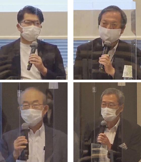 パネルディスカッション・パネラーの各氏。上左から右へ、廣井 悠、橋本 茂、青山 佾、閉会の挨拶で登壇した原 正之・日本防災士機構理事長の各氏